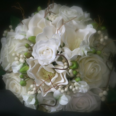 artificial wedding bouquet fake flowers roses magnolia berries